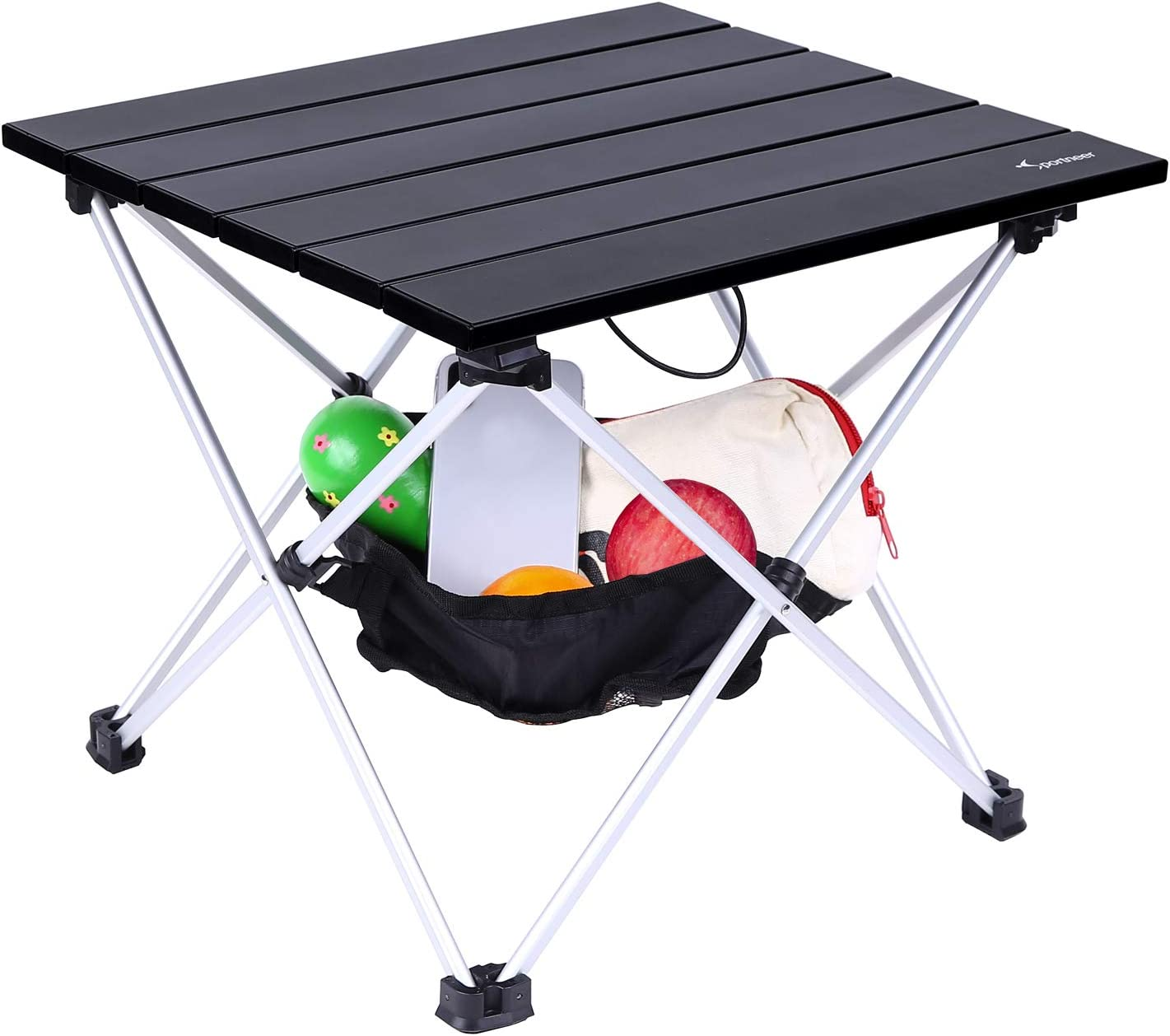 Hiking Outdoor Picnic Fishing Prefect for Dining Beach Sportneer Portable Camping Table Cooking Lightweight Folding Table with Aluminum Table Top and Carry Bag Cooking Cutting