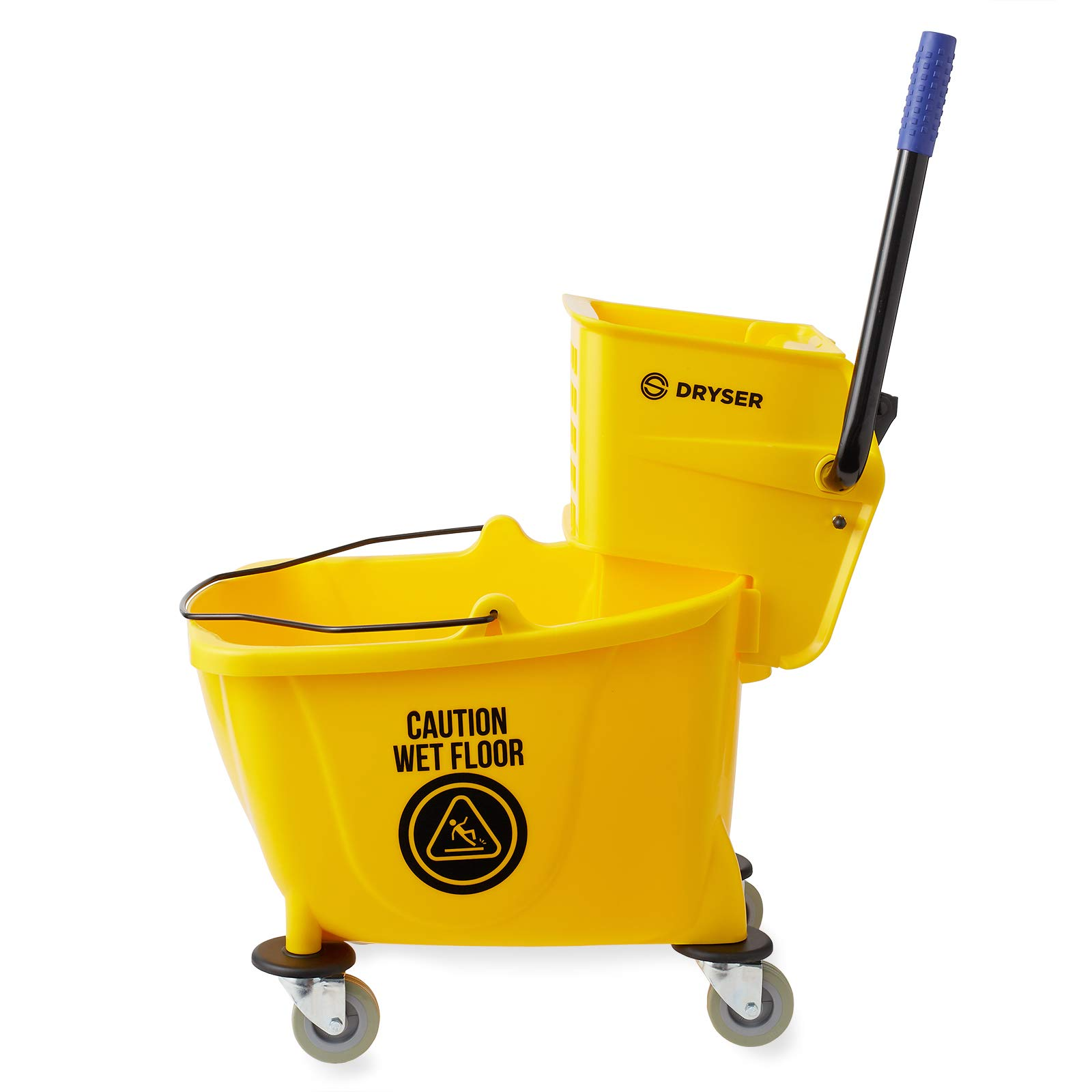 Dryser Commercial Mop Bucket with Side Press Wringer, 33 Quart, Yellow by Dryser (Image #2)