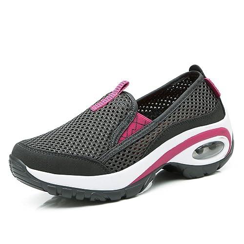 7ec45bf73aa08 Suetar Calzado Deportivo de Malla de Moda para Mujer Zapatillas  Transpirables de Verano Zapatos de Trekking Ligeros y Antideslizantes para  Mujeres  ...