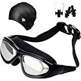 Youandme Swimming Goggles, No Leaking, Anti-Fog, UV Protection Swimming Glasses with Swimming cap, Ear Plugs, Nose Clip and Protective Case, Adjustable Strap Comfortable Fit For Men, Women, Youth.