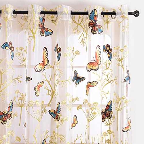 Top Finel Butterfly Window Voile Sheer Curtain Panels Gauze For Living Room 54 inch Width X 84 inch Length,Single panel,Grommets
