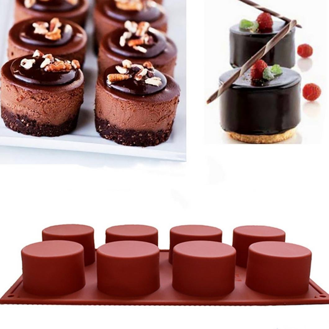 LiPing Circular Cake Mold Silicone Bakeware Set Professional Non-Stick Silicone Baking Set FDA Silicone Muffins and Brownies (A)