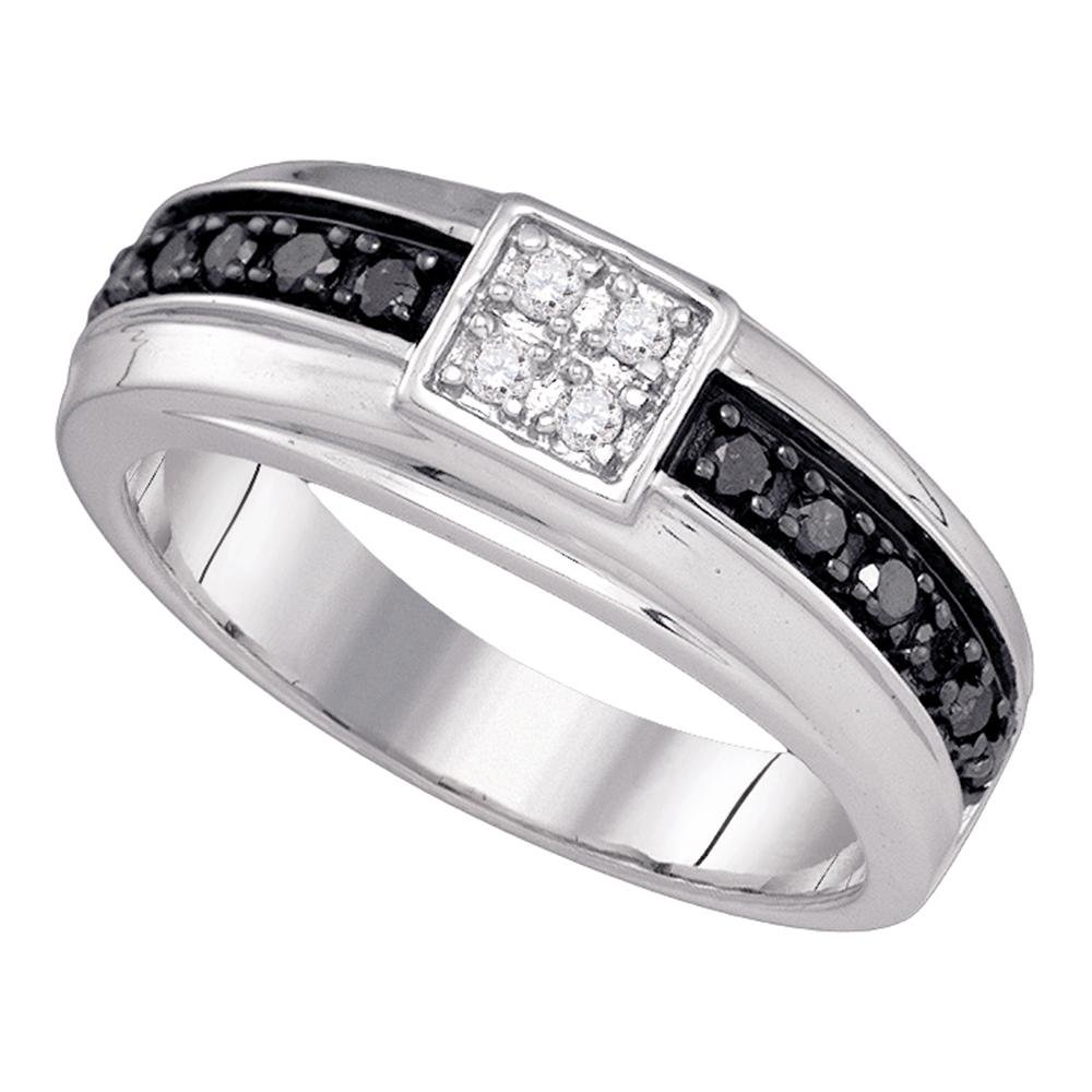 Jewels By Lux 10k White Gold Mens Black Color Enhanced Diamond Wedding Anniversary Band Ring 3/8 Cttw Ring Size 11.5 by Jewels By Lux