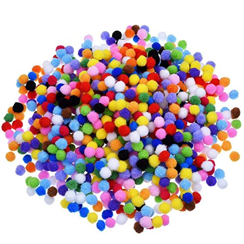 BoNaYuanDa 1000 Pieces Pompoms for Craft Making and Hobby Supplies 0.4 Inch, Assorted - And Supplies Hobby Craft