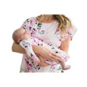 Baby Be Mine Newborn Gown and Hat Set Layette Romper Coming Home Outfit (Newborn, Amelia)