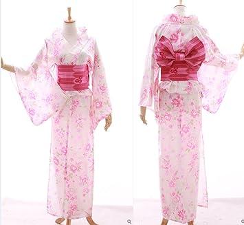 Yue Lian Damen Japanisch Blumen Yukata mit Bindeg/ürtel//Obi Robe Kost/üm