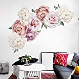 Peony Flowers Wall Decals Peel and Stick Rose Wall Sticker for Home Bedroom Nursery Room Wall Decor (Pink3)