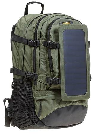XTPower® SP607BL 6,5 W Mochila solar en verde - Bolsa solar de nailon - Mochila de excursión con función de carga solar desmontable - Panel Solar ...