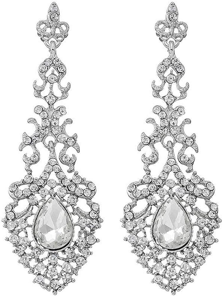 Pendientes Pendientes largos Aleaciones largas retro Pendientes de diamantes completos Pendientes largos Pendientes de piedras preciosas Pendientes de novia