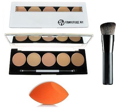 W7 camuflaje kit crema corrector 5 tonos paleta + Lydia® - Brocha ...