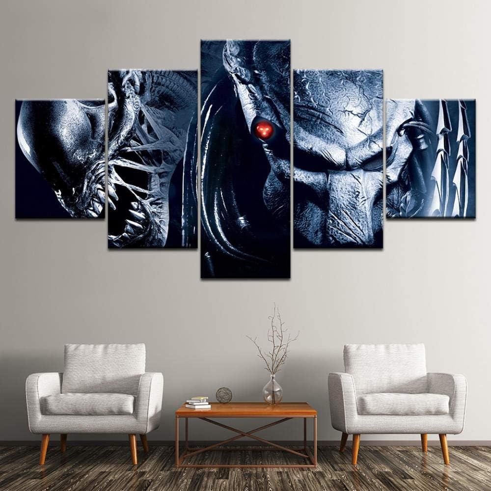 nobrand 5 Cuadros consecutivos Criatura alienígena Pintura Decorativa Moderna Decoración 150cmx80cm(Framed)