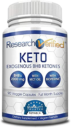Research Verified® Keto - Vegan Keto Supplement with 4 Exogenous Ketone Salts (Calcium, Sodium, Magnesium and Potassium) and MCT Oil to Boost Energy, Weight Loss and Focus in Ketosis - 1 Bottle