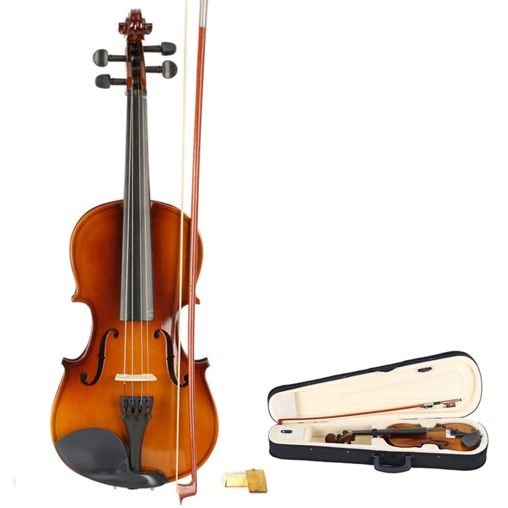 Classic Solid Wood Violin Retro Color with Shoulder Rest Tuner Strings Bow Rosin Case for Violin Beginner (3/4 Size)