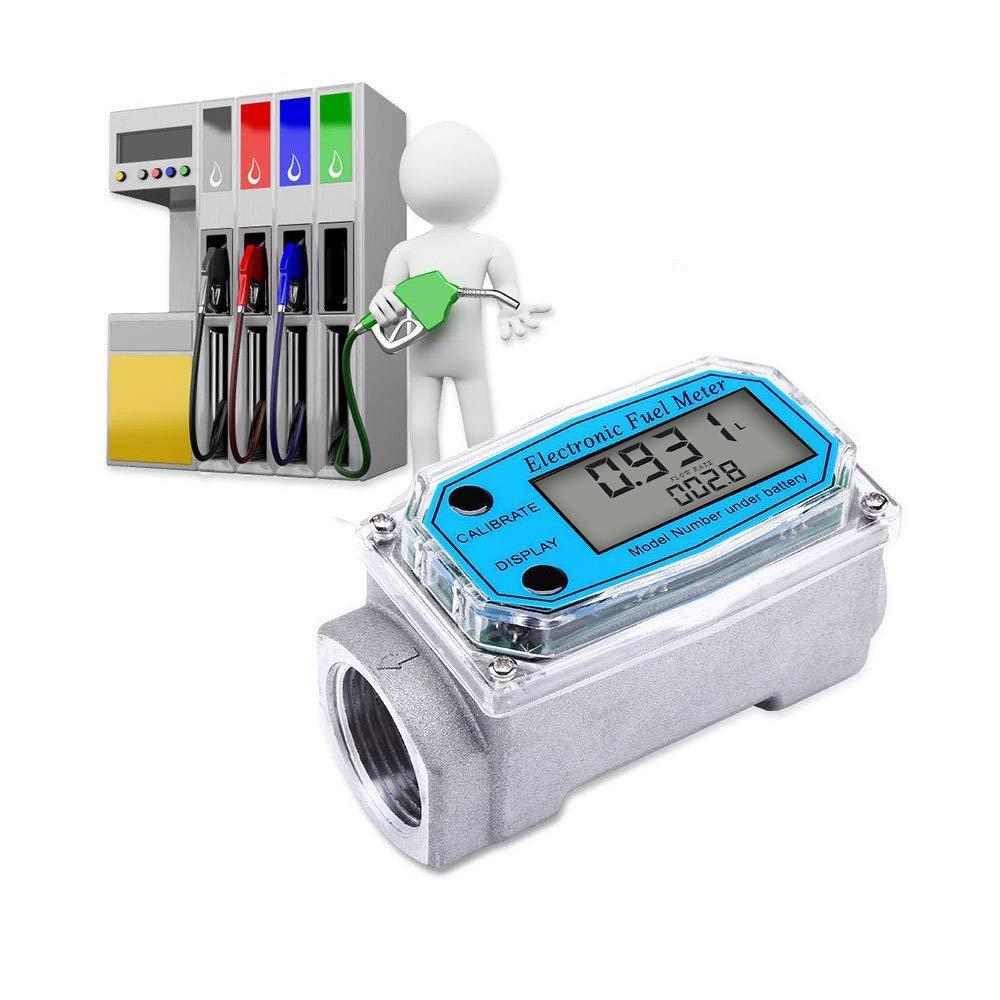 Digital Turbine Flow Meter Digital LCD Display with NPT Counter Gas Oil Fuel Flowmeter for Measure Diesel Kerosene Gasoline 1 Inch