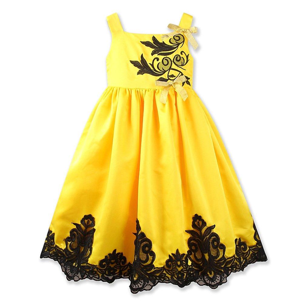 Girls Dress Summer Yellow Sleeveless Lace Wedding Party Baby Dresses Birthday (Tag:130, Yellow)