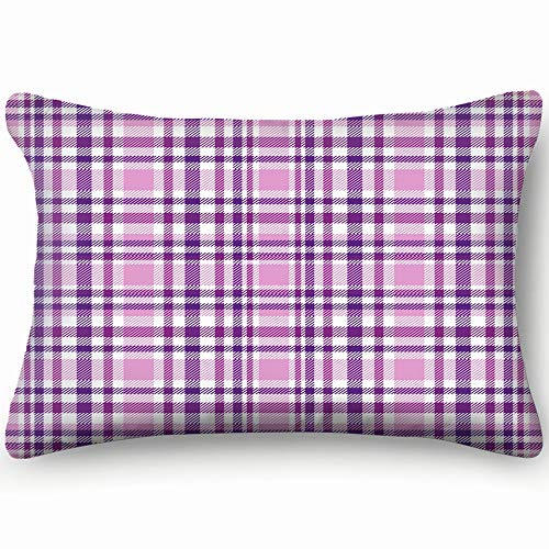 best bags Tartan Plaid Purple White Throw Pillow Case Cushion Cover Double Side Design 20