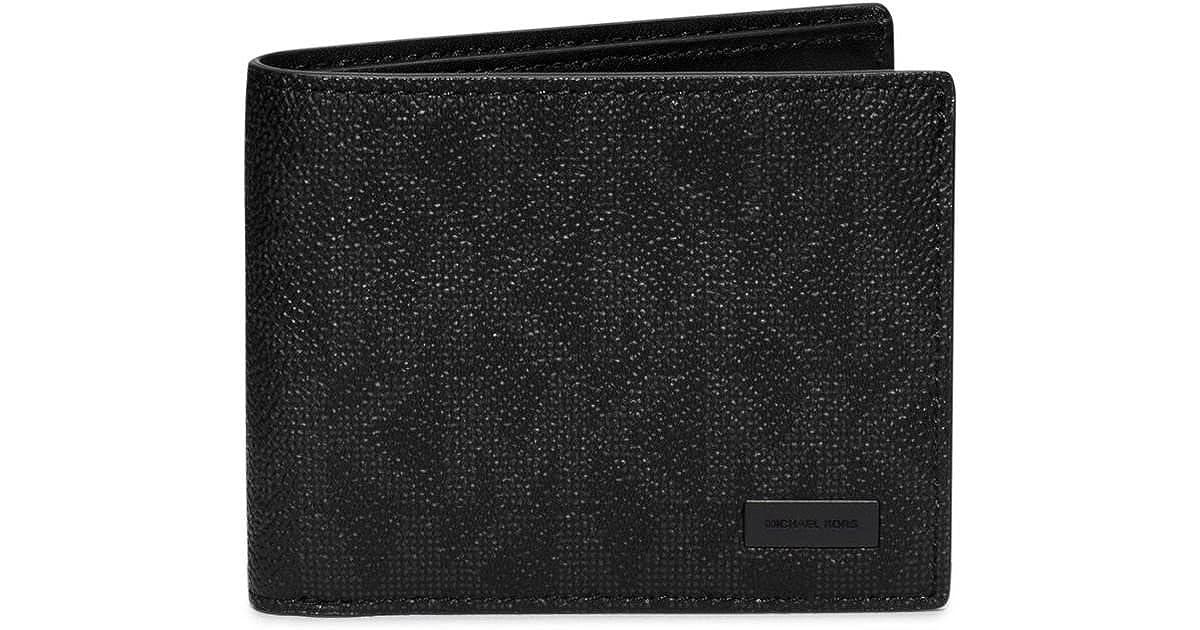 25f040dbe5b2 Amazon.com  Michael Kors Jet Set Shadow Signature PVC Slim Billfold Black Bill-fold  Wallet  Shoes