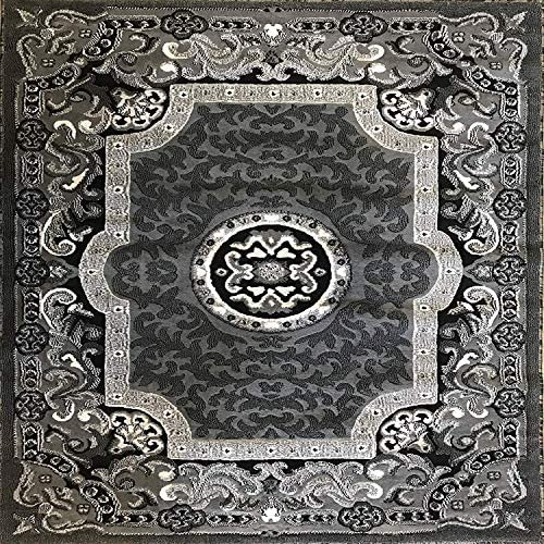 Carpet King Traditional Square Persian Oriental Area Rug Grey Black Silver Gray Design 101 7 Feet 3 Inch X 7 Feet 3 Inch