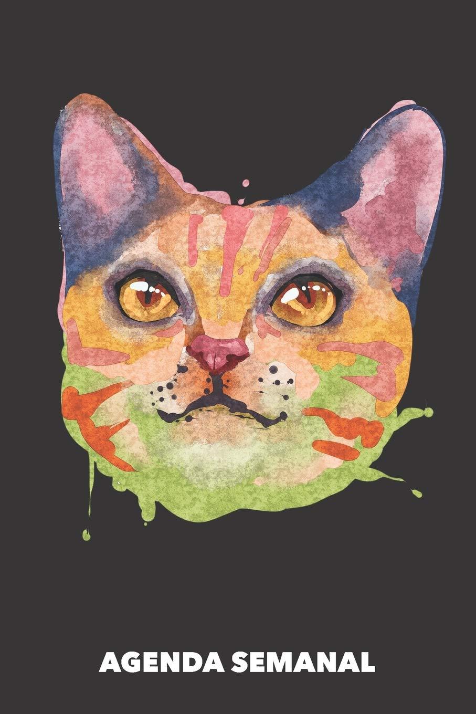 Agenda Semanal: Gato Acuarela A5 manuscrito floral - Cuaderno con Planificador Semanal 52 Semanas para dueños de gatos negro: Amazon.es: Agendas Semanales, Gato: Libros