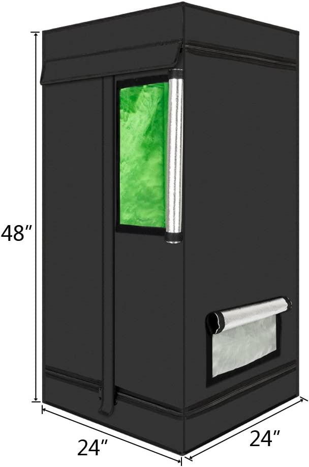 24 x 24 x 48 Mylar Hydroponic Grow Tent with Viewing Window and Light Save for Indoor Plant Growing 2x2x4 Feet
