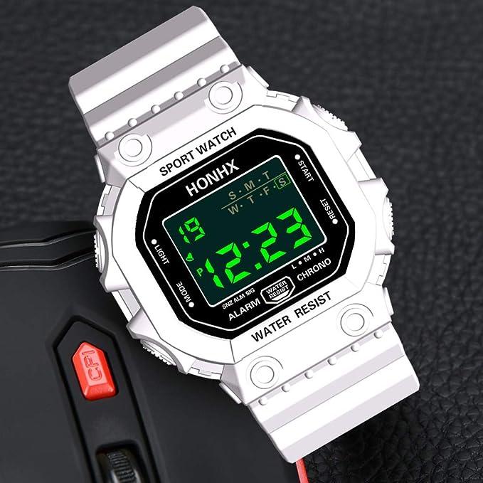 Montre de Sport étanche avec Alarme/Chronomètre, Large Poignet Militaire avec rétro-éclairage LED pour Homme (White): Amazon.fr: Montres