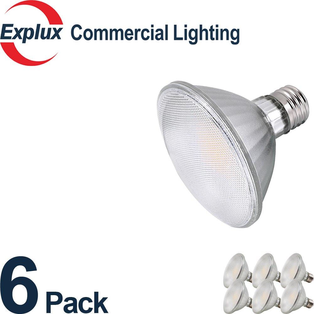 Premium Full-glass Dimmable LED PAR30 Short Neck LED Bulbs, Weatherproof 9W (75 Watts Equivalent) LED PAR30S Light Bulbs, Flood Light, 3000K Bright White (Pack of 6)