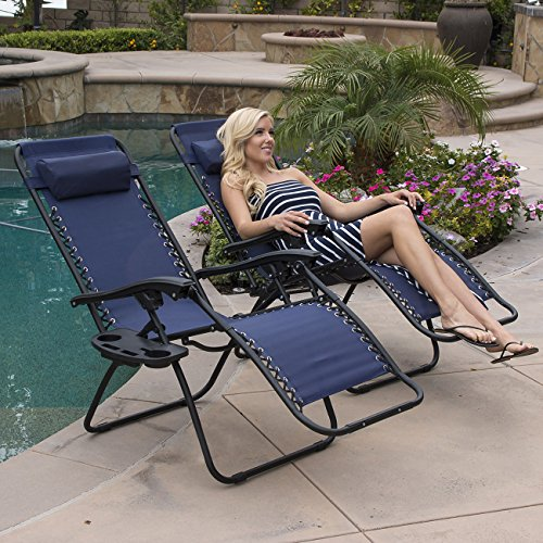 Belleze Lounge Patio Zero Gravity Chairs Set of 2 Utility Tray Cup Holder Adjustable Headrest Recliner Yard, Navy Blue