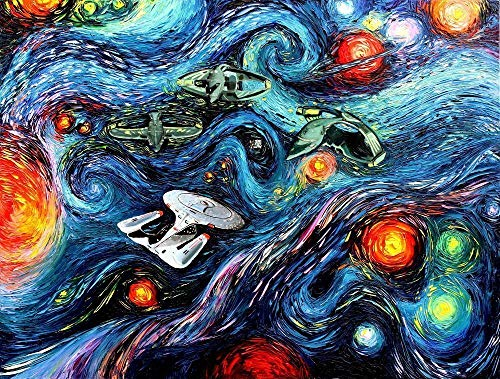 Space Artwork - Starship Enterprise and Romulans Inspired Art - Starry Night - Bargaining - Art by Aja choose size and type of paper