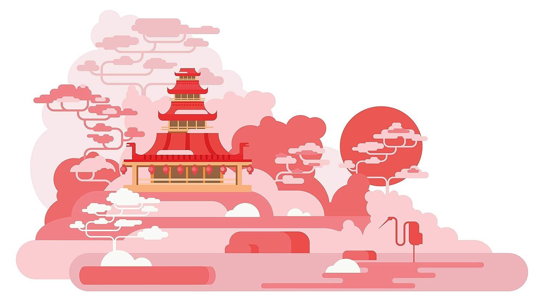 Wandtattoo Asien Palast mit Landschaft in rosa Wandsticker Wanddeko Wohnzimmer