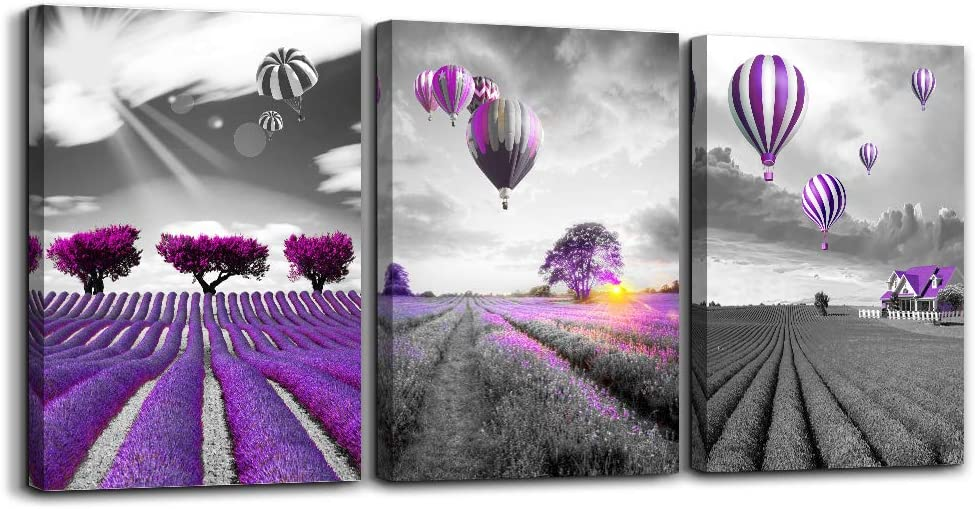 Purple landscape Wall Art for living room Canvas Prints Artwork bathroom Wall Decor 3 Pieces Framed bedroom wall decorations lavender Picture Watercolor painting Office kitchen Home Decoration
