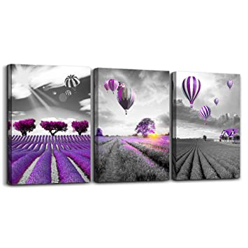 Purple landscape Wall Art for living room Canvas Prints Artwork bathroom  Wall Decor 3 Pieces Framed bedroom wall decorations lavender Picture ...