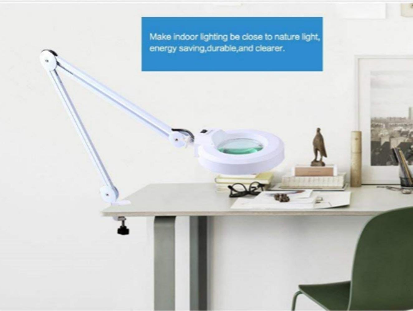 Drafting Work Light Workbench zorvo LED Magnifying Clamp Lamp 10X Magnifying Glass Daylight Bright Magnifier Desk Lamp with Clamp ,5 Diameter Lens, Adjustable Swing Arm Craft