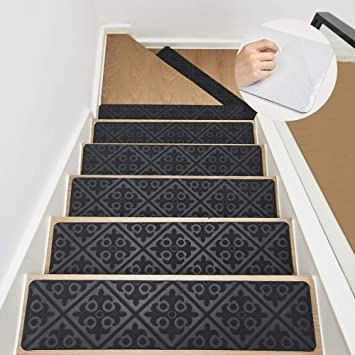 Rubber Adhesive Stair//Floor Treads Safety Grip for Kids Elders and Pets 8x32 Stair Treads Carpet Non Slip Indoor Set of 2 Gray Pre Applied Adhesive Carpet Stair Runner for Wooden Steps