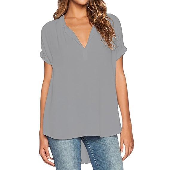 Juleya Mujer Blusas Verano Gasa Camisa Manga Corta Top Espalda Larga Frente Corto Blusa de Cuello