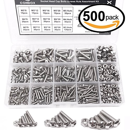 Comdox 500Pcs M3 M4 M5 Stainless Steel Button Head Hex Socket Head Cap Bolts Screws Nuts Assortment Kit