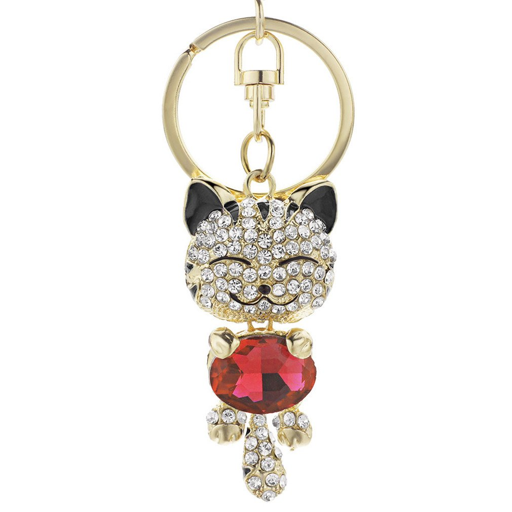Cute Cat Crystal Rhinestone Keyrings Key Chains Rings Holder Purse Bag For Car Lovely Keychains Black