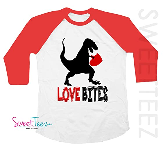 70b7f60e Image Unavailable. Image not available for. Color: Love Bites Shirt Funny  Valentine's Day Shirt Dinosaur Shirt for Boy Girl Red Raglan Toddler Youth