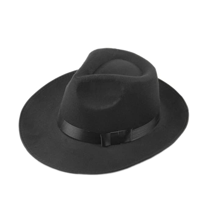 Fedora hat Cappelli Jazz Felt Floppy Ribbon Band Wide Brim Panama Hat Elegant Gorras Hombre Gangster Cap Men Women Felt Black at Amazon Womens Clothing ...