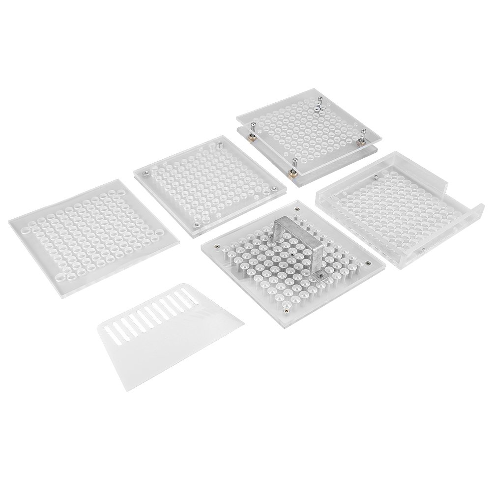 Acrylic Empty Coffee Powder Plates Holder with Spreader, 100 Holes Dispensing Filling Spices Storage Manual Organizer Tool(1#) by Semme (Image #3)