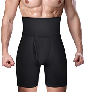 TENMET Mens Shapewear High Waist Tummy Abdomen Leg Control Shorts Anti-Curling Slimming Body Shaper Underwear Boxer Brief