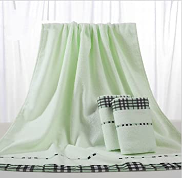 Suave algodón toalla de baño (27 x 54 cm) lujo hoja 3 piezas Juego de toallas de baño, verde: Amazon.es: Hogar
