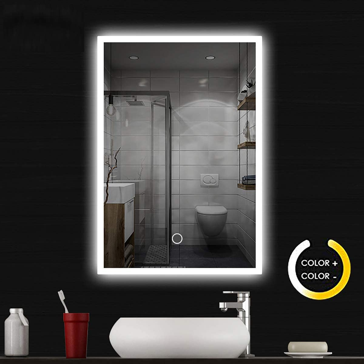SYHsdzg Wall Mounted Bathroom Mirror,Large 32 Inch x 24 Inch LED Bathroom Mirror Silvered Anti-Fog Lighted Touch Makeup Vanity Mirror with 2 Colors Light Dimmer Wall Mounted Framless Vertical Horizon