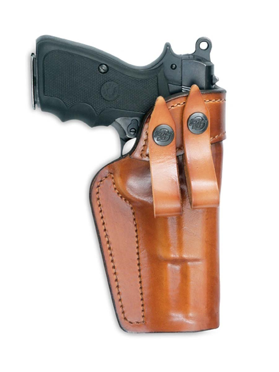 Amazon.com : Front Line Fast-Draw Belt-Slide Leather Holster (Brown ...