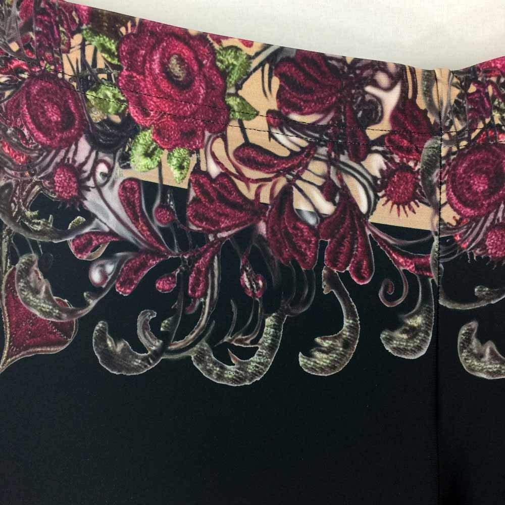Vintage Embroidery Floral & Rose Detail Spandex Festival Leggings Size XL