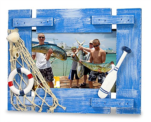 Beach Picture Frame with Sea Shells - Weathered Ocean Blue Wood Background - Nautical Kids Bathroom Decor - for 4x6 (Fishing Memories Photo)