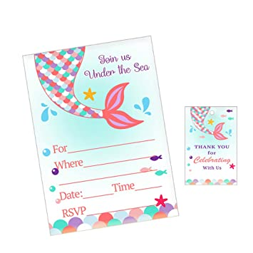MERMAID WISHES INVITATIONS 8 Birthday Party Supplies Stationery Cards Notes