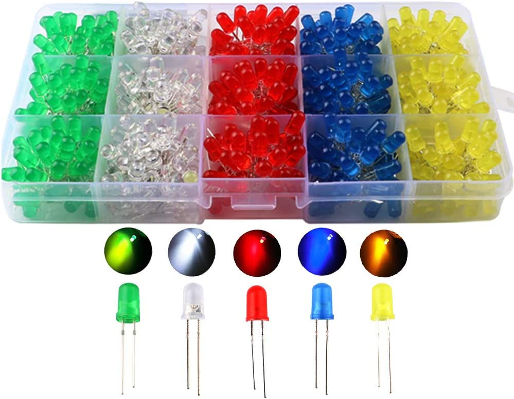 10 colors x 20pcs DiCUNO 200pcs 3mm 2pin LED Diodes Light Emitting Diodes Round Head Lamp Resistor Assorted Kit