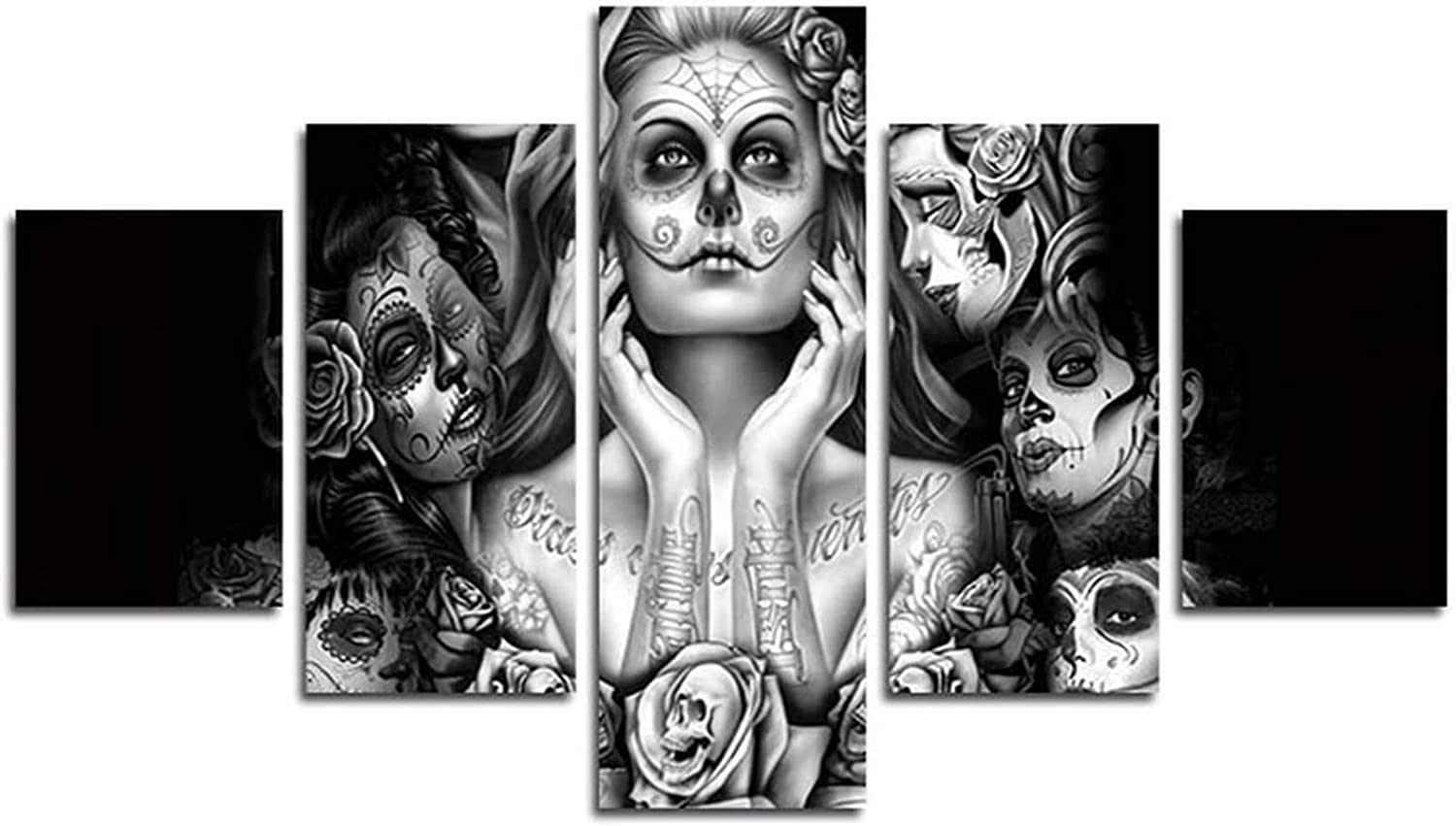 AtfArt 5 Piece NO Framed Canvas Painting Picture Sugar Skull Modern Decor Art Wall Art Canvas Print Home Bedroom Decoration (Unframed) for 249 50 inch x30 inch