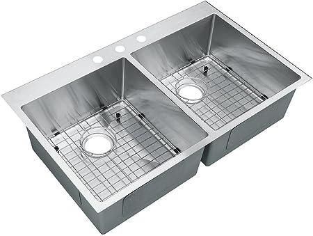 Starstar 36 X 22 Top-mount 50/50 Double Bowl Kitchen Sink Drop-in 304  Stainless Steel 16 Gauge