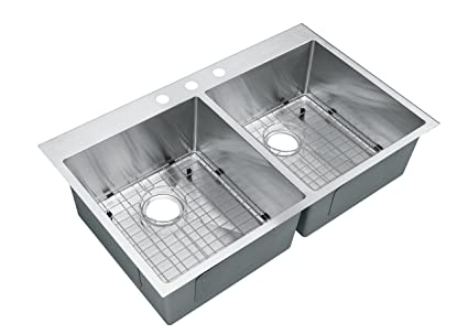 Starstar 36 X 22 Top-mount 50/50 Double Bowl Kitchen Sink Drop-in ...